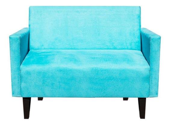 Sofá Retrô Compacto Jade 2 Lugares Suede Azul Tiffany
