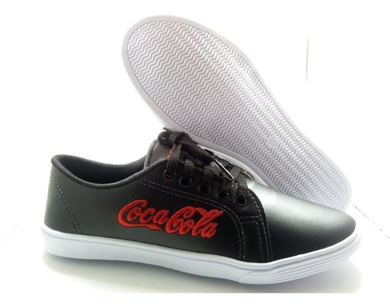 Sapatênis Coca Cola Preto Com Vermelho Confort Plus
