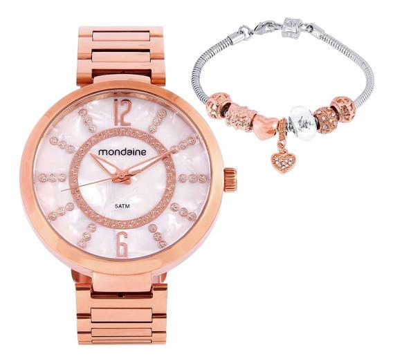 Kit Relógio Feminino Mondaine 53617lpmkre4k1 Barato Original