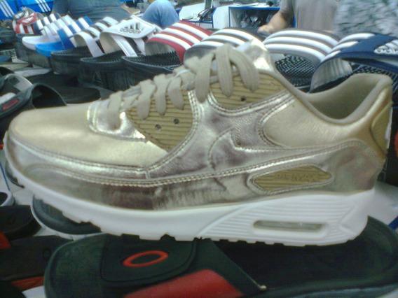 Tenis Nike Air Max 90 Café Metalizado Nº34 Ao 39 Original!!