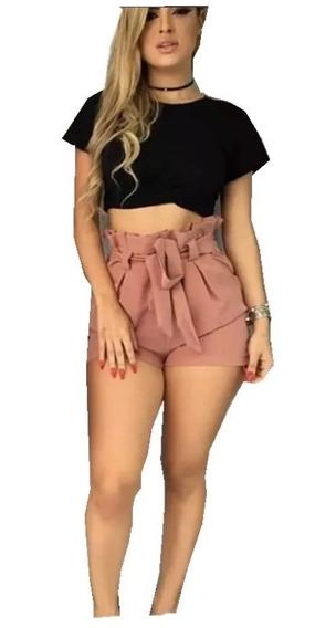 C/ 5 Shorts Cintura Alta Feminino Bengaline Shortinho Laço