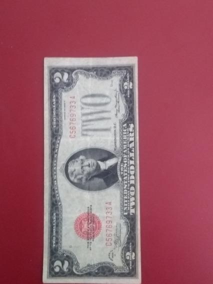 Billete De 2 Dólares Año 1928 Selló Rojo Con Error