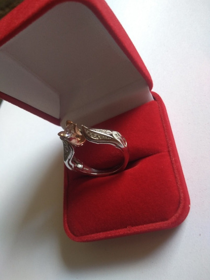 Anel Solitário Feminino Banhado Prata 925 Rosa Ouro Rosé 10k