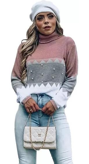 Blusa Lã Feminina Tricot Tricô Frio Inverno Bordado Pérolas