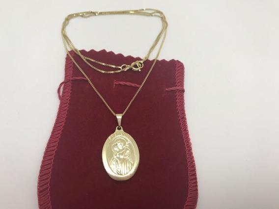 Corrente Com Medalha Do Santo São José Banhada A Ouro 18 K