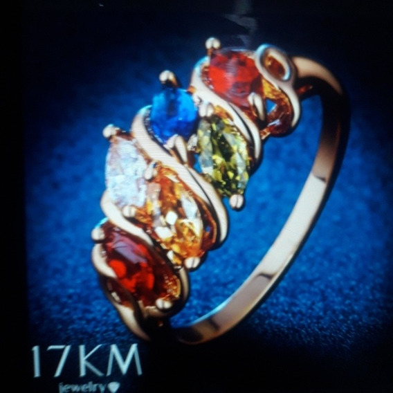 Promoção: Anel Feminino Banhado À Ouro Com Pedras Preciosas: