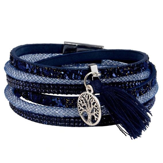 Pulseira De Couro Multicamadas Azul , Linda , Especial