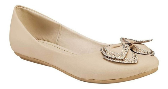 Zapato De Piso Dama Balerina Miss Pink 8-266 Beige 22-26 T4