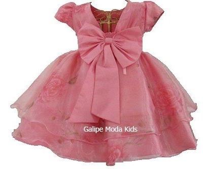 Vestido Luxo Infantil Coral Estampado Para Festas