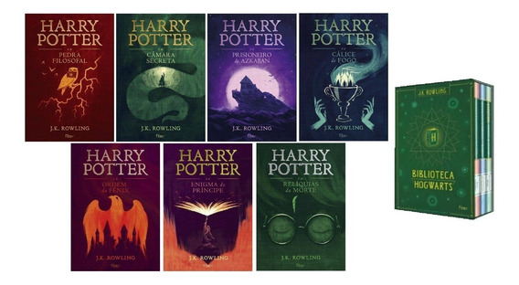 Kit Harry Potter 7 Livros + Box Biblioteca De Hogwarts