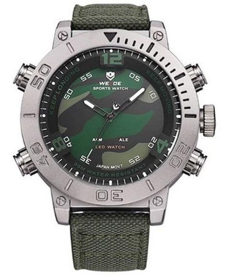 Relógio Masculino Weide Anadigi Wh-6103 Verde E Camuflado