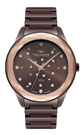 Relógio Feminino Technos Crystal 2036mkj/4m 38mm Aço Marrom
