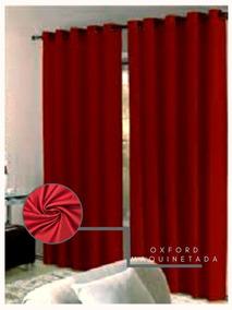 Cortina Oxford Maquinetada Vermelha