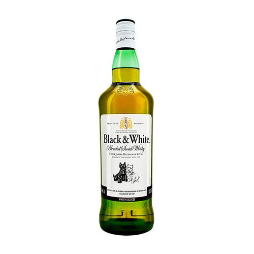Imagen 1 de 4 de Botella Whisky Blended Scotch Black & White 8 Escocia 1l