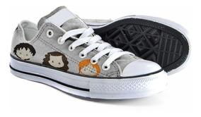 Tênis - Converse All Star Customizado - Harry Potter - Cinza