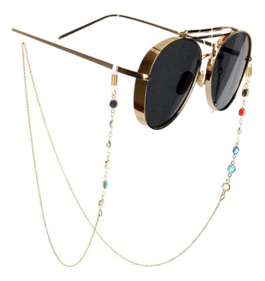 Cordão Para Óculos 6 Pedras Laterais 70cm Corrente