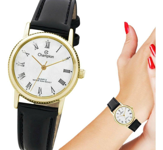 Relógio Champion Feminino Pulseira De Couro Ch25043m