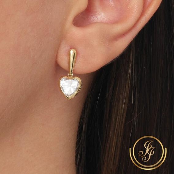Brinco Coração Zirconia Grande Pendurado Ouro 18kl 750 Kl