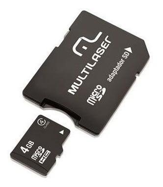 Kit Com 5 Unidades: Cartão De Memória Microsd, Com Adaptador Sd 4gb Multilaser