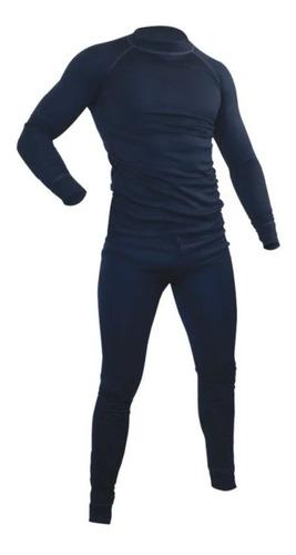 Imagen 1 de 1 de Conjunto Primera Capa Polera Pantalon Termico Azul Oscuro