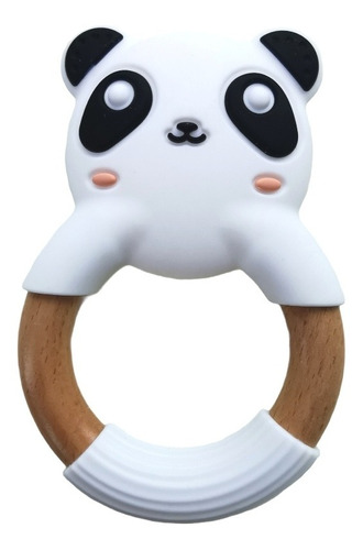 Imagen 1 de 2 de Mordedera De Dentición Nórdica De Silicón Y Madera Panda