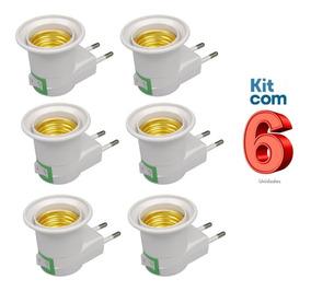 Kit C/ 06 - Pino Adaptador Porta Lâmpada Com Interruptor
