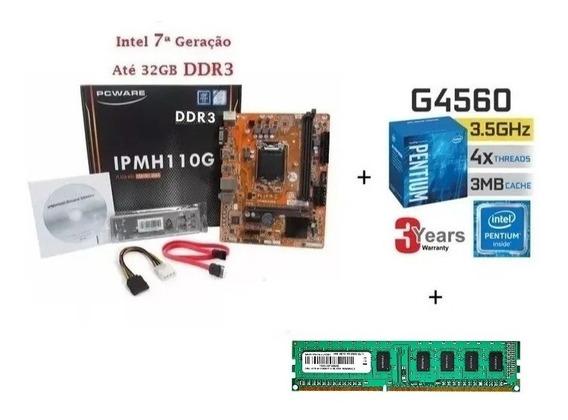Kit Placa Mãe Ipmh110m-h Ddr3 +pentium G4560 Box + 04gb Ddr3