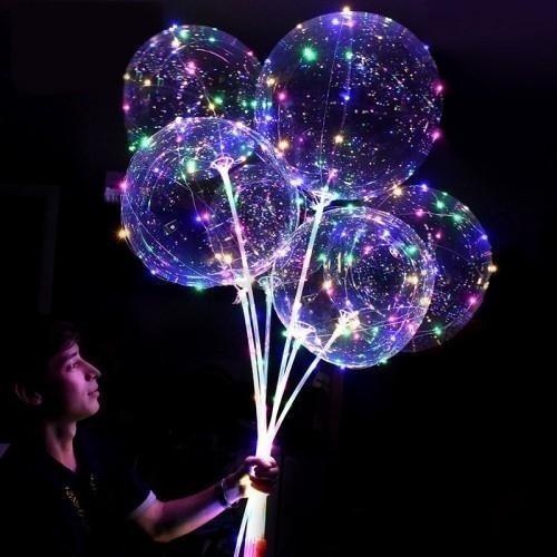 Globo Luminoso Led Cotillón Burbuja Cristal