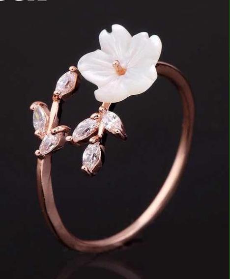 Anel De Pressão Flor - Folheado Ouro Rosé Presente Namorada