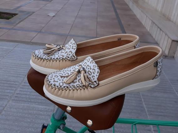 Mocasín Mujer Cuero Zapato Chatita Descansito