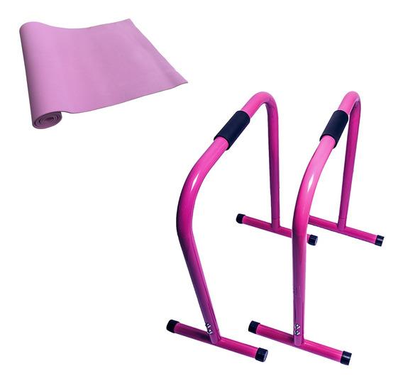 Barra Paralela Equalizer Acte + Tapete Yoga Mat Eva Pink
