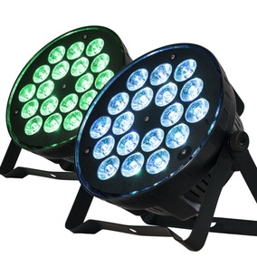 Kit 2 Refletor Par 64 Slim 18 Leds Cree 12w Rgbw Quadriled