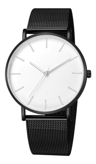 Relógio De Pulso Aço Inoxidável Com Pulseira Milanese