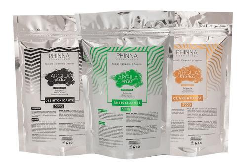 Kit Argila Branca + Argila Preta + Argila Verde Com Dolomita