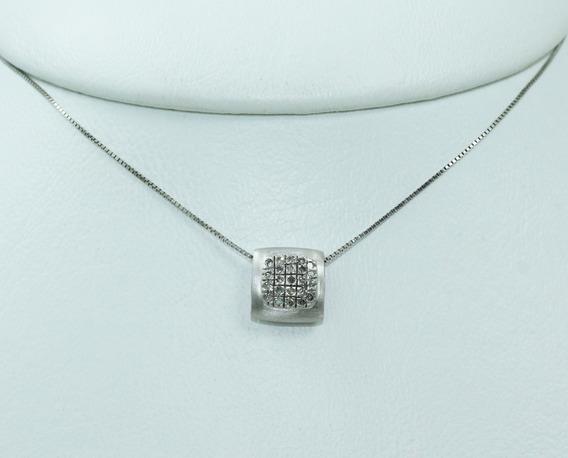 Pocao2005- Colar De Ouro Branco 18k750 Vivara Diamantes C329