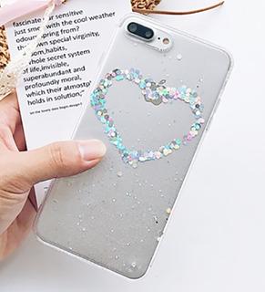 Funda Powder Glitter Corazón iPhone 6s 7 8 Plus X Moda