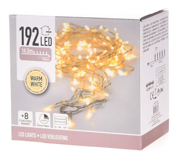 192 Luces Led Cálidas A Pila - Cable Transparente