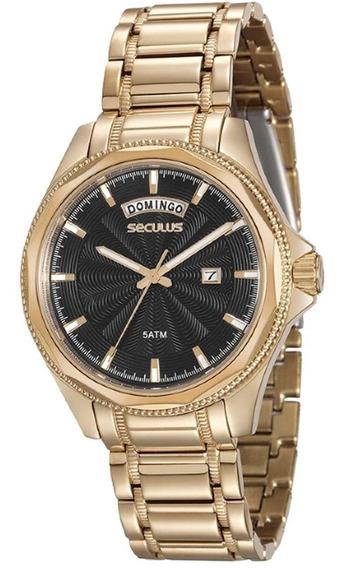 Relógio Masculino Dourado Seculus 20459gpsvda1