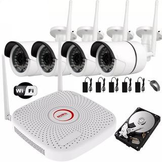Kit 4 Camaras Wifi Ip Inalambricas Seguridad Hd Disco