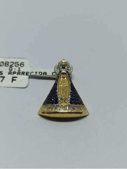 Pingente Nossa Senhora Da Aparecida Ouro 18k-750 Com Pedras