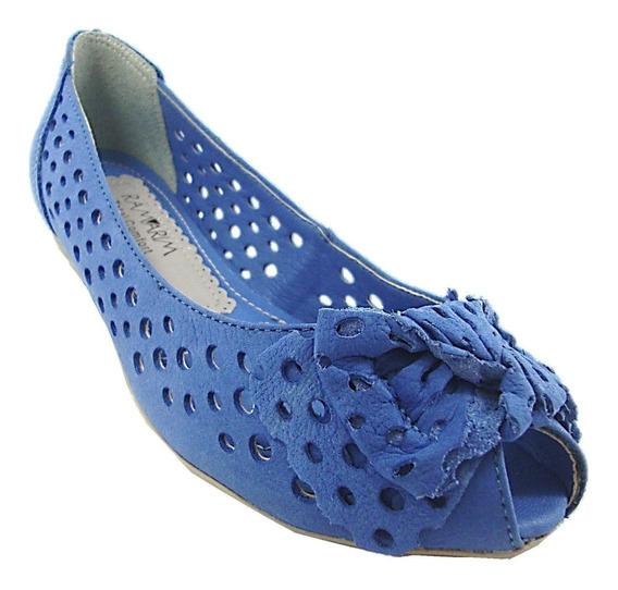 Sapatilha Feminina Peep Toe Azul 113203 Ramarim Em Oferta!