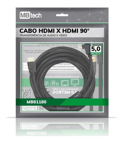 Cabo Hdmi 2.0 90° 5 Metros 4k Ultra Hd 3d 1080p Envio No Dia
