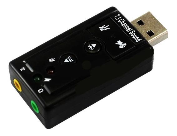 Placa Som Usb Notebook Pc 3d Adaptador Audio Dj 7.1 Canais