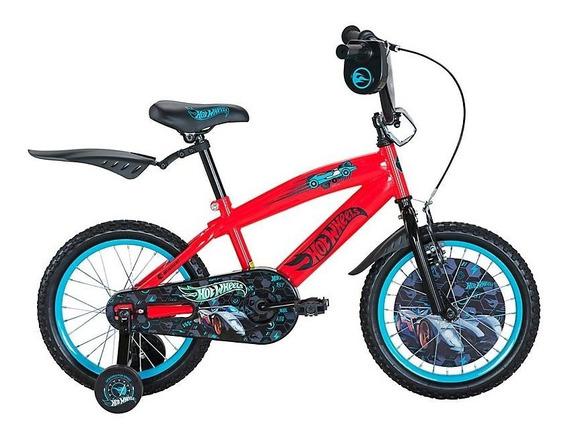 Bicicleta Hotwheels Niño Rodado 16 Color Rojo