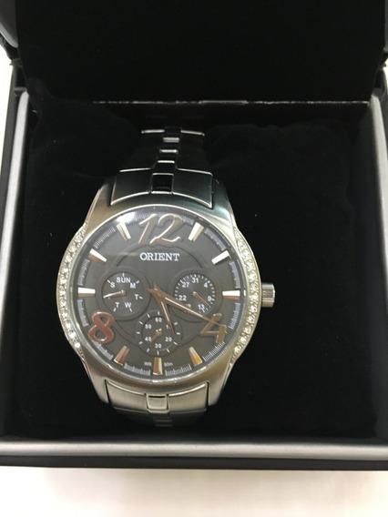 Relógio De Pulso Orient 023 Prata Pedras Feminino Original