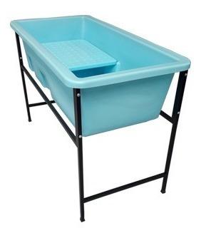 Banheira Petshop Banho E Tosa Azul Tam. Pequena C/degrau