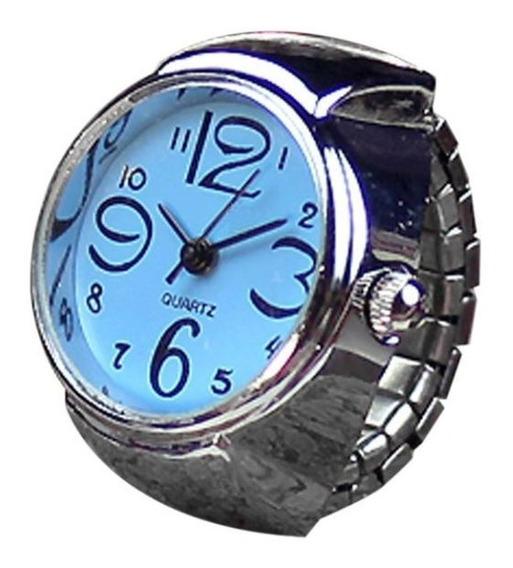Relógio De Dedo Mostrador Quartz Feminino Anel Azul
