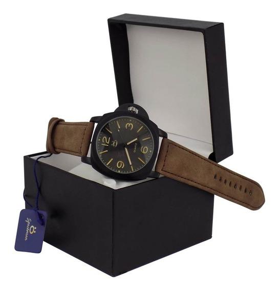 Relógio De Pulso Masculino Preto Couro Original + Caixa