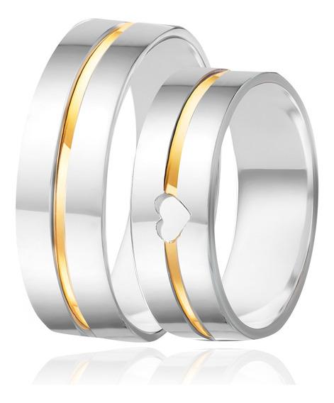 Alianças De Namoro Prata 950 Polida Com Ouro 6.5 Mm