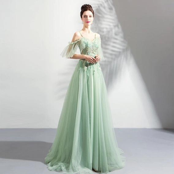 Vestido De Noche Verde Menta Alp-190304001